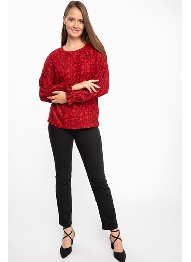 DeFacto Balon Kollu Desenli Bluz Kırmızı